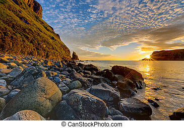 The Talisker Bay at sunset - The Talisker Bay on the Isle of...