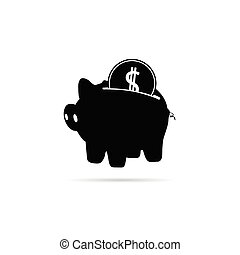 piggy bank with coin black vector