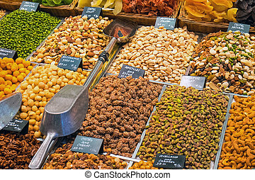 Selection of Nuts at a market