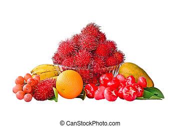 sortimento, de, frutas, isolado,