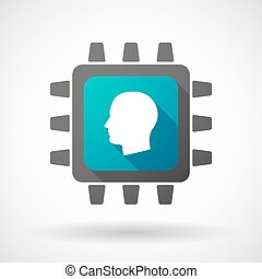 CPU icon with a male head - Illustration of a CPU icon with...