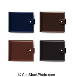 Vector Set of Leather Wallets Isolated on White