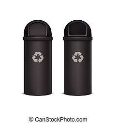 Vector Recycle Bins for Trash and Garbage Isolated