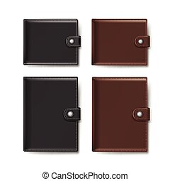 Vector Set of Black and Brown Leather Wallets