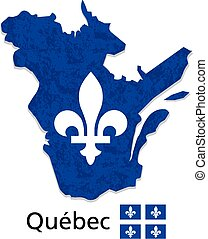 Quebec map with emblem and flag illustration and vector with...