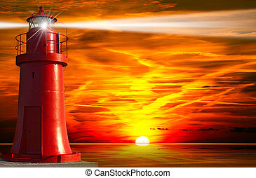Red Lighthouse with Light Beam at Sunset - Red and metallic...