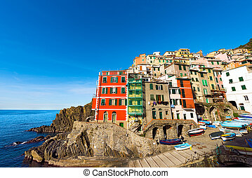 Riomaggiore Liguria Italy - Riomaggiore village, cinque...