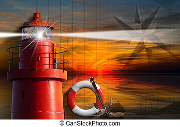 Adventurous Journeys Background - Red metallic lighthouse...