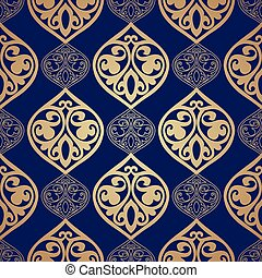 Luxury damask seamless motif . Vector - Blue and gold luxury...