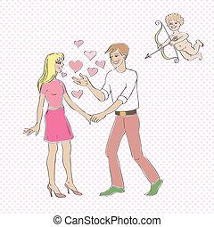 Valentine eros - Valentine's Day card, Love Day cartoon...