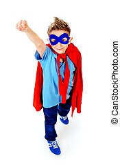 flight to dream - A boy teenager in a costume of superhero...
