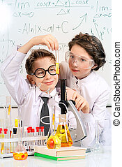 laboratory - Students doing experiments in the laboratory....
