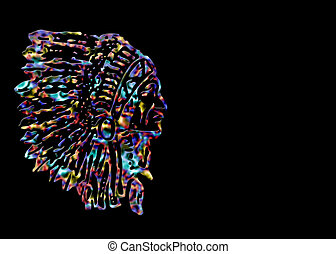 Indian Chief - Background with multi-colored etching of...