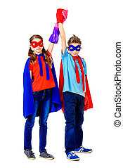 new generation - Boy and girl teenagers in a costume of...
