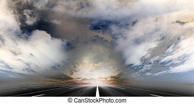 road on the sky - route on background celestial landscape