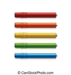 Set of Markers, Highlighters, Felt Tip Pens - Vector Set of...