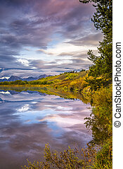 Oxbow Bend at Dawn - Cloudy dawn at Oxbow Bend on the Snake...