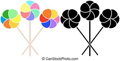 Windmill - Three colorful toy windmill and their silhouettes...