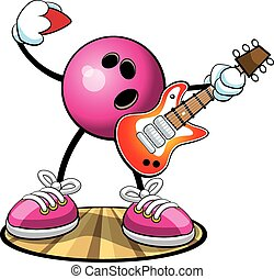 Bowling Character Rock n Bowl - Vector cartoon of a bowling...