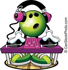 Bowling Character DJ - Vector cartoon of a bowling ball DJ...