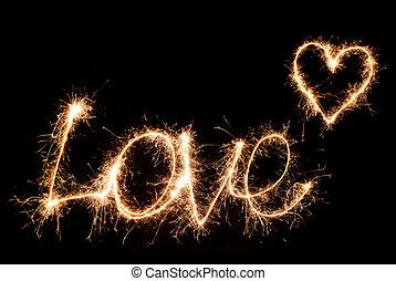 Inscription Love and heart of sparklers