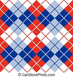 Argyle in Red, White and Blue - Seamless argyle pattern in...
