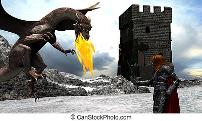 Winter Scene of a Brave Knight Fighting with a Dragon in...