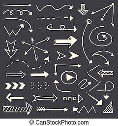 Hand drawn arrows sketch set