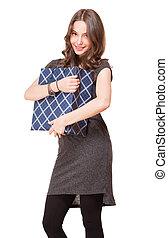 Happy shopper. - Portrait of a gorgeous happy brunette...
