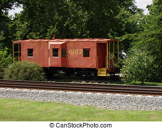Red Caboose on Southern Railroad - Old red Caboose off of...