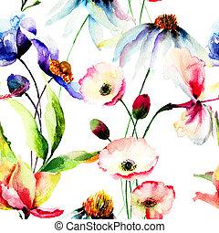 Seamless, papel pintado, con, salvaje, flores,