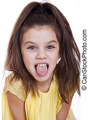 Crazy little girl, studio on white background