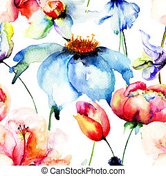 Seamless wallpaper with Beautiful flowers, watercolor...