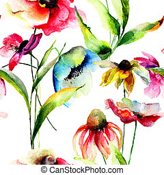 Watercolor illustration of Summer flowers, seamless pattern