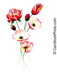 Poppy and Tulips flowers, watercolor illustration