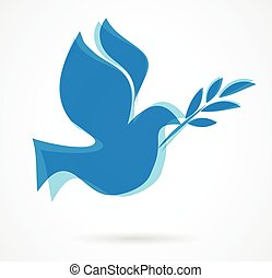 dove with the olive bench. vector illustration