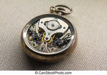Mechanism of a pocket watch - Front removed from a pocket...