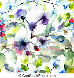 Seamless pattern with Blossoming tree brunch, watercolor...