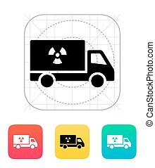Truck with radiation icon Vector illustration