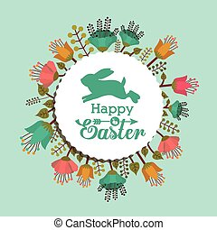 Happy easter card design, vector illustration.