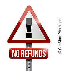 no refunds warning sign illustration design over a white...