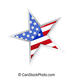 usa patriotic flag star illustration design over a white...