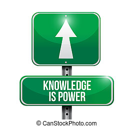 knowledge is power road sign illustration design