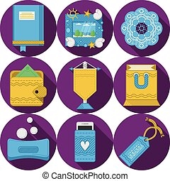 Flat purple vector icons for handmade gifts - Round purple...
