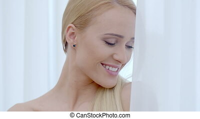 Pretty Smiling Woman Behind White Curtain - Close up Pretty...