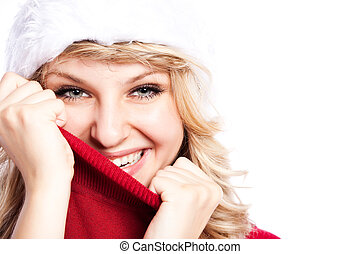 Christmas santa girl - A portrait of a beautiful caucasian...