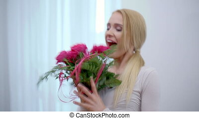 Very Happy Woman Received a Bouquet of Roses