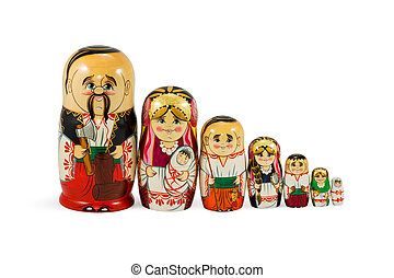 Nested dolls family standing in a row - Ukrainian nested...