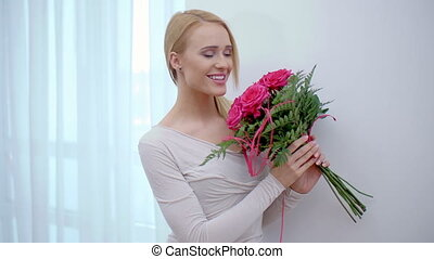 Pretty Girl Surprised with Bouquet of Flowers - Close up...