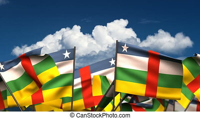 Waving Central African Flags seamless alpha channel